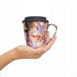 TRAVEL MUG 3130 red and purple with silicone cover safe for microwave gift for her him  porcelaine pebeo useful art