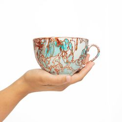 SEXY 3112 mug coffee tea soup mug  turquoise and gold  handmade ooak unique design gift shabby christmas gift unisex latte
