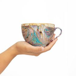 SEXY 3129 mug coffee tea soup mug  turquoise rose and gold  handmade ooak unique design gift shabby christmas gift unisex latte