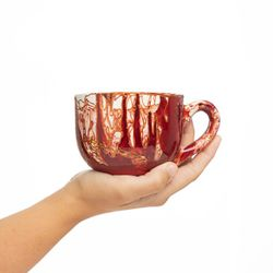 LARGE 3033 handpainted porcelain red and gold mug gift christmas latte coffee unique design porcelain art