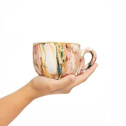 LARGE 3049 handpainted porcelain dark green pink and yellow mug gift christmas latte coffee unique design porcelain art