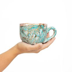 LARGE 3045 handpainted porcelain turquoise et copper mug gift christmas latte coffee unique design porcelain art