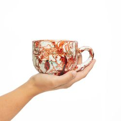 LARGE 3050 handpainted porcelain red and gold mug gift christmas latte coffee unique design porcelain art