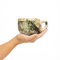 LARGE 3069 handpainted porcelain dark green and gold mug gift christmas latte coffee unique design porcelain art