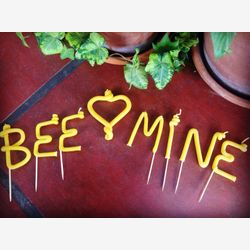 Bee mine - Valentine's Day candle - beeswax candle - cupcake topper - letter candles - birthday candle - custom candle