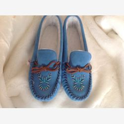 Blue beaded cowhide mocassins