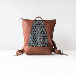Hobart - Backpack in Recycled Leather and Japanese Fabric